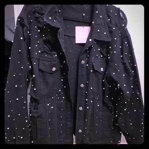 Misguided X Carli Bybel Black Pearl Denim Jacket